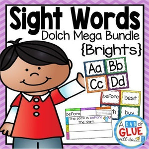 Sight Word Activities, Centers, and Word Wall Dolch Mega Bundle {Brights}