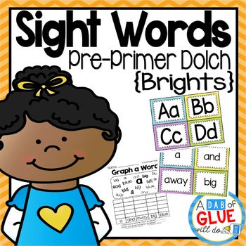 Sight Word Activities, Centers, and Word Wall Dolch Pre-Primer {Brights}