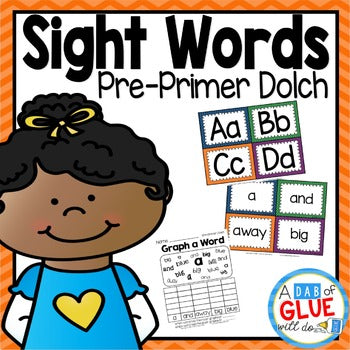 Sight Word Activities, Centers, and Word Wall Dolch Pre-Primer {Primary}