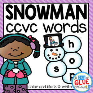 Snowman CCVC Word Building Activity