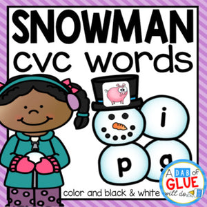 Snowman CVC Word Building Activity
