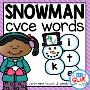 Snowman CVCE Word Building Activity