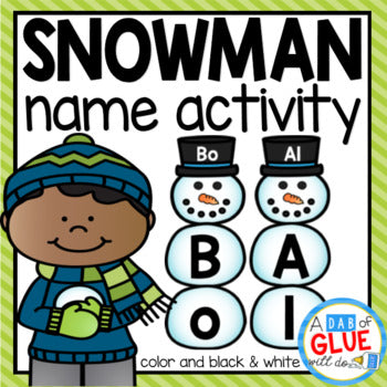Snowman Editable Name Activity