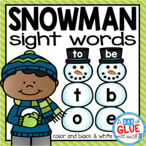 Snowman Editable Sight Word Activity