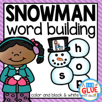 Snowman Word Building Activity Bundle - CVC, CVCC, CVCE, and CCVC Words