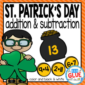 St. Patrick's Day Editable Addition and Subtraction Activity