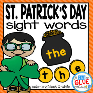 St. Patrick's Day Editable Sight Word Activity