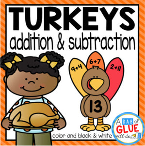 Turkey Editable Addition and Subtraction Activity