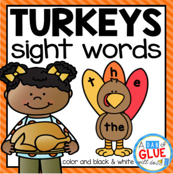 Turkey Editable Sight Word Activity