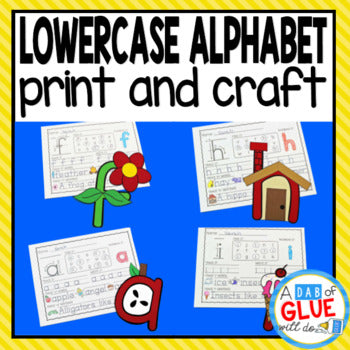 A-Z Lowercase Letter Crafts and Worksheet Bundle