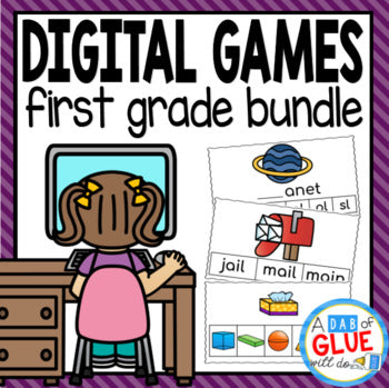 First Grade Digital Learning {Growing} Bundle (1st Grade Distance Learning)