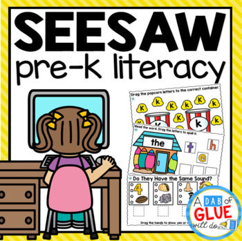 LITERACY SeeSaw Activities for PREK Distance Learning Digital Bundle