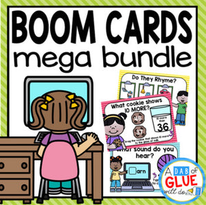 Boom Cards Digital Mega Bundle for Boom Cards Distance Learning {Pre-K, K, & 1)