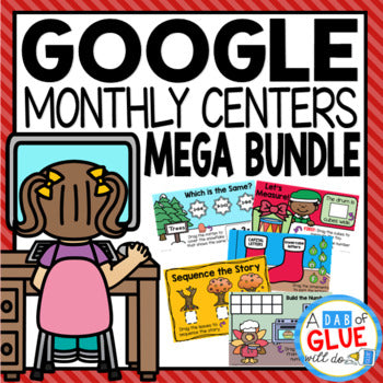 Monthly & Holiday Google Slides {Growing} Mega Bundle for Kinder, PreK and 1st