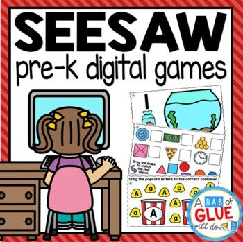 Pre-K SeeSaw Activities Digital Bundle for SeeSaw Distance Learning