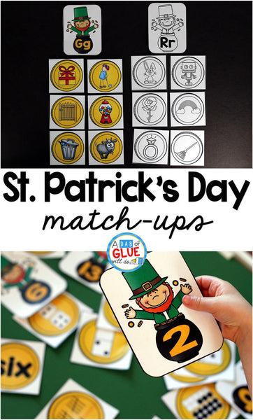 Make learning fun with these themed Initial Sound and Number Match-Ups. Your elementary age students will love this fun St. Patrick's Day themed literacy center and math center! Perfect for literacy stations, math stations, or small review groups. Use in your Preschool, Kindergarten, and First Grade classrooms. Black and white options available to