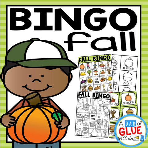 Play Bingo with your elementary age students for a fun fall themed game! Perfect for large groups in your classroom or small review groups. Add this to your fall lesson plans or fall class party with 30 unique Back to School Bingo boards! Teaching cards are also included in this fun game for young children! Black and white options available to save
