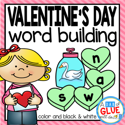 Valentine's Day Word Building Activity Bundle - CVC, CVCC, CVCE, and CCVC Words