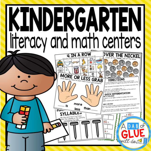 No Prep Math and No Prep Literacy Centers for Kindergarten Standards Bundle
