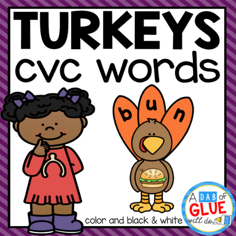 Turkey CVC Word Building Activity