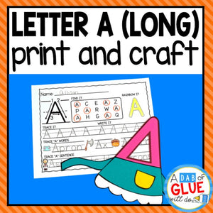 Long Vowel Letter A Activities: Uppercase Letter Craft and Alphabet Worksheet