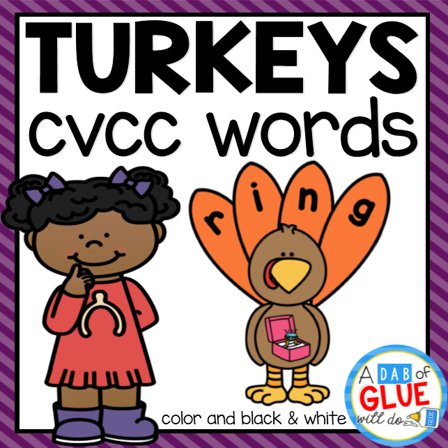 Turkey CVCC Word Building Activity