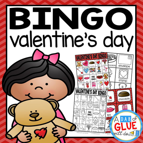 Play Bingo with your elementary age students for a fun Valentine's Day themed game! Perfect for large groups in your classroom or small review groups. Add this to your Valentine's Day party with 30 unique themed Bingo boards with your students! Teaching cards are also included in this fun game for young children! Black and white options available t