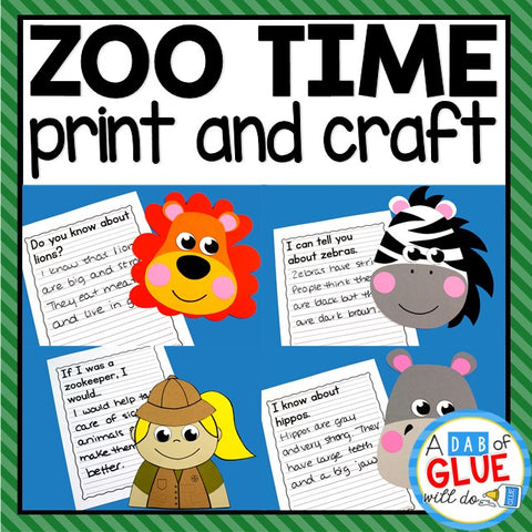 Zoo Animals Print and Craft and Creative Writing