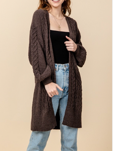 Chunky Chenille Knitted Cardigan