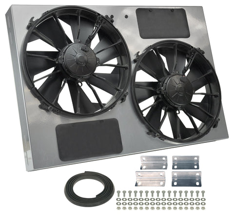 "Derale 16927 High Output Dual 12"" Electric RAD Fan/Powdercoated Steel Shroud Kit - 26""W x 18""H x 4""D Canada Performance Improvements"