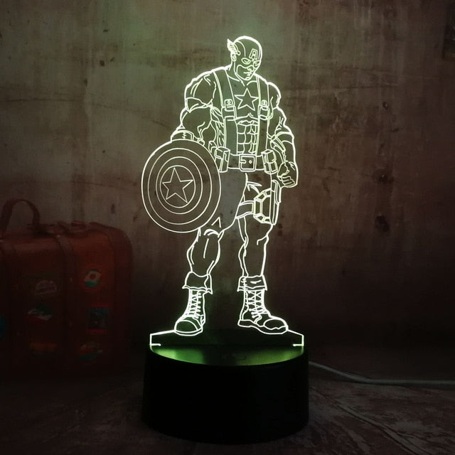 Cool Marvel Super Hero Spider iron Man Hulk Deadpool 3D LED Lamp