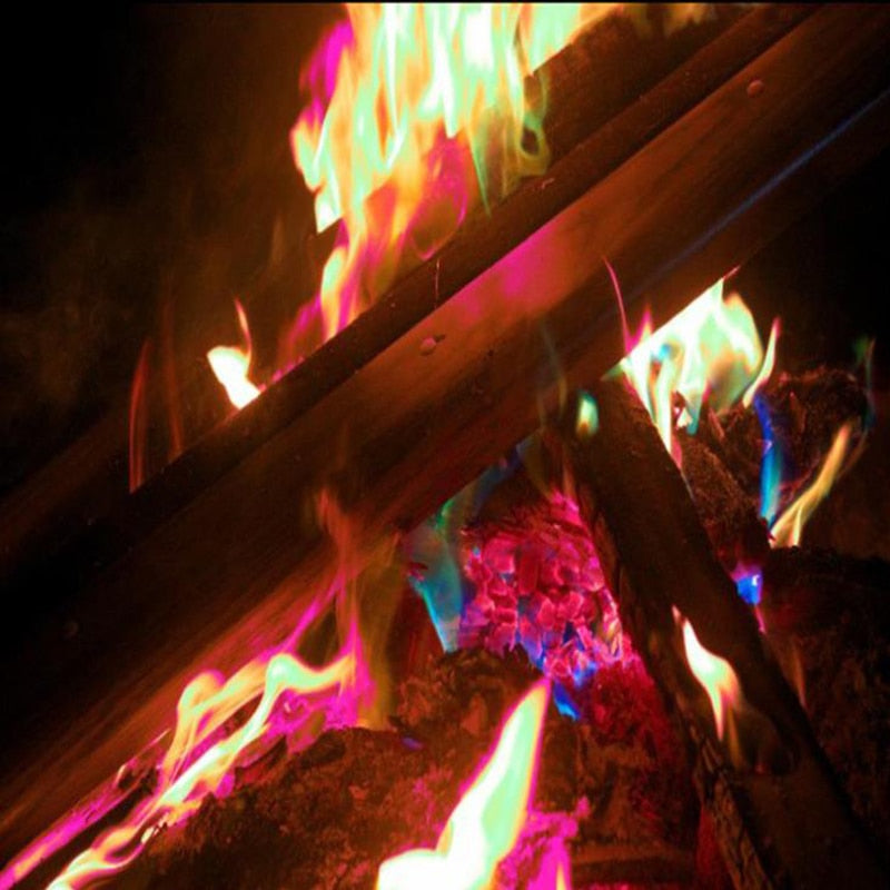 Mystical Fire Magic Tricks Colorful Flames Outdoor Bonfire