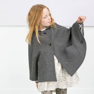 Girls Wool Blend Hoodie Poncho Outwears