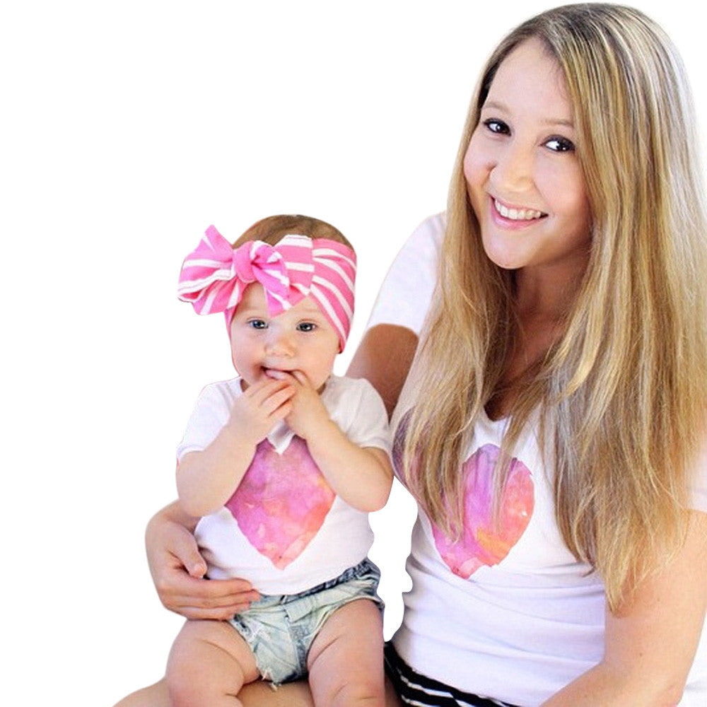 Mother and daughter t-shirt Family Match Pink Heart T-Shirt