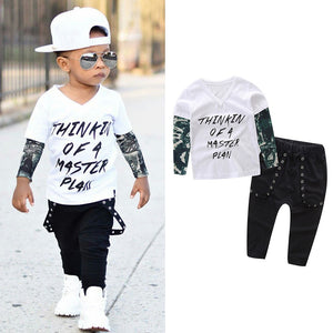 "Boys Letter Tattoo ""Thinking of a Master Plan"" T shirt Top Pants Outfit Set"