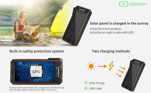 15000mAh Solar Power Bank Portable External Battery Solar Powerbank Charger with Electric Cigarette Lighter  for Smart Phone