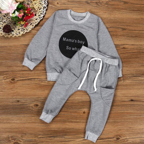 Kids Long Sleeve T-shirt Tops + Pants Fashion Casual Outfit Set