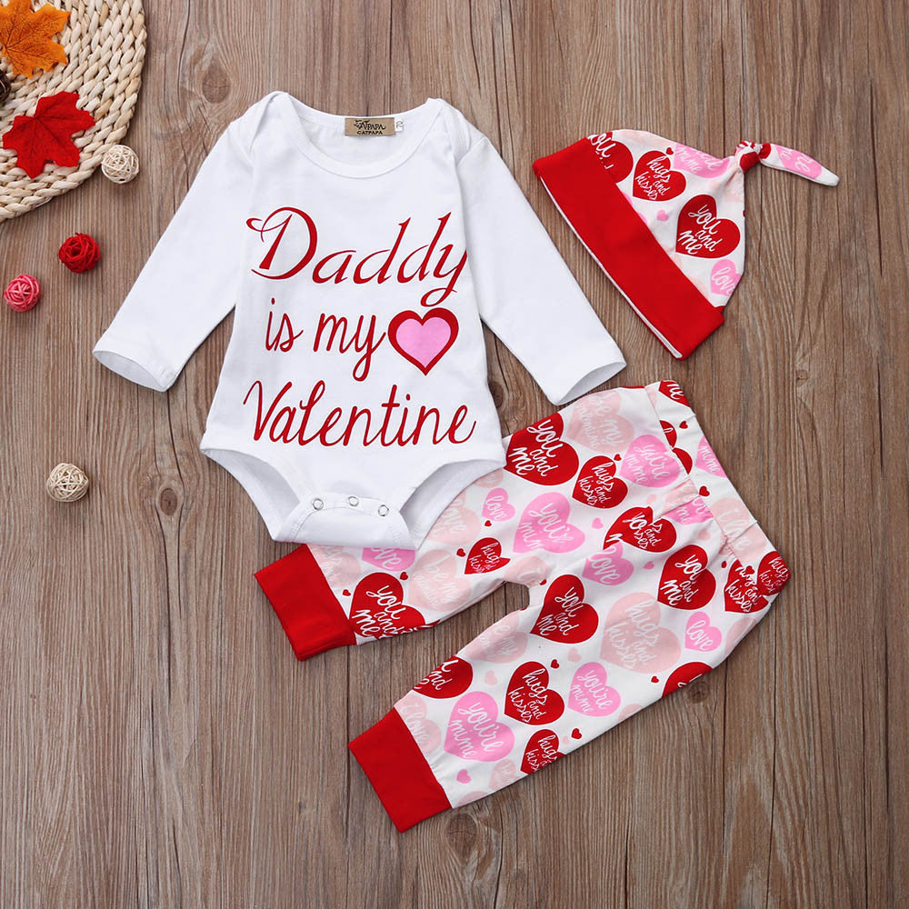 New 3Pcs Baby Girl Long Sleeve Valentine Outfit