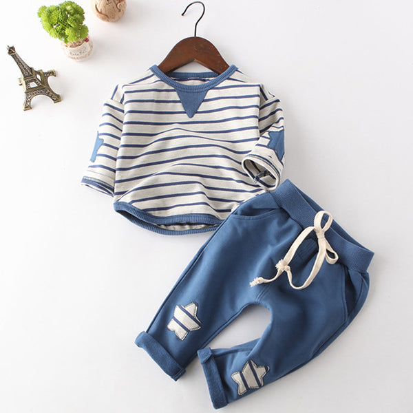 Spring Fashion Style Cartoon Baby Sets Long Sleeve Shirt+Jeans Pants 2Ps Boys Clothes