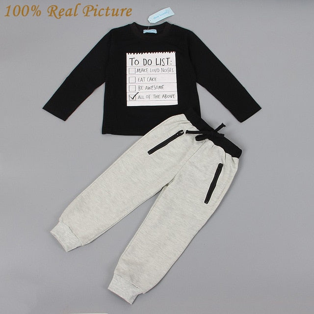 New Spring Dark Grey Long Sleeve t-shirt + casual long pants 2pcs suit kids clothes