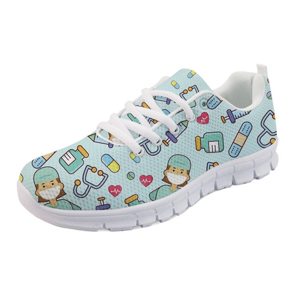 Spring Nurse Flat  Women Cute Cartoon Nurse Sneakers