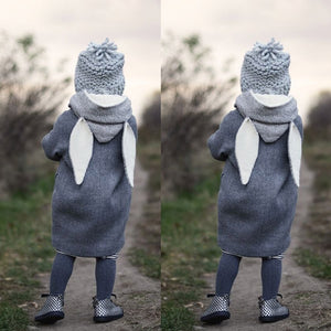 Children Cute Long Hooded Rabbit Ear Jacket