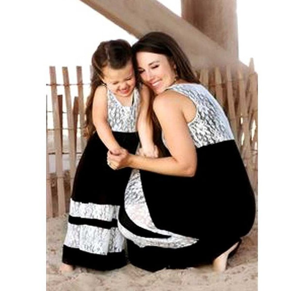 Mommy and me family matching Color Lace dresse