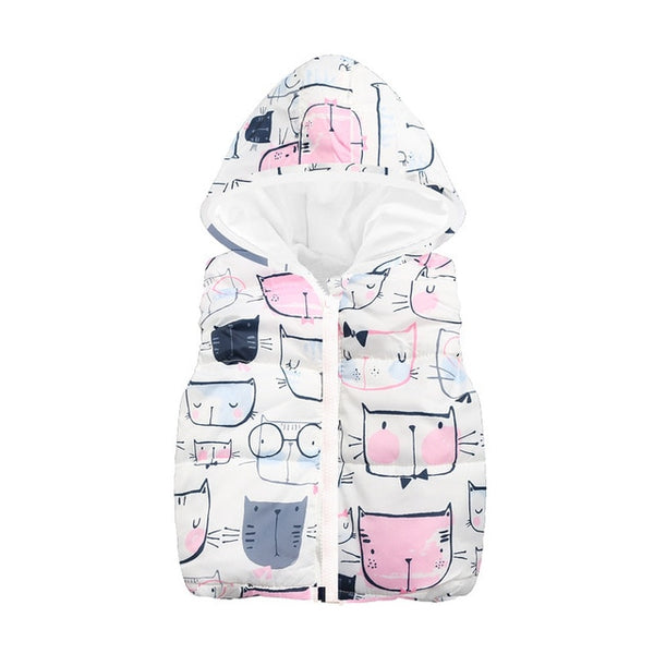 New Sale! Floral Butterfly Thick Hooded Vest Jackets