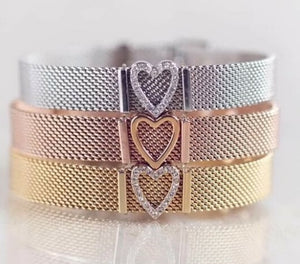 Rose Gold Mesh Bracelet Set-Stainless steel