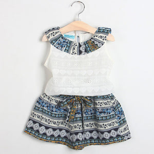 Girls Clothes Kids Clothing Sets Sleeveless White T-Shirt + Plaid Short 2Pcs Suits