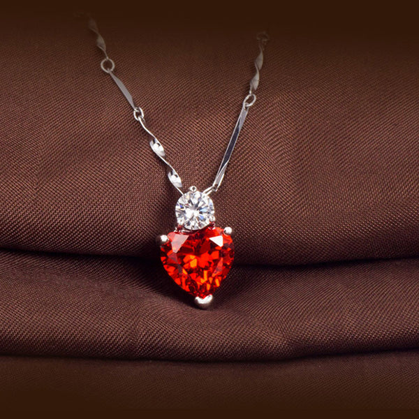 Silver Red Crystal Heart Necklace