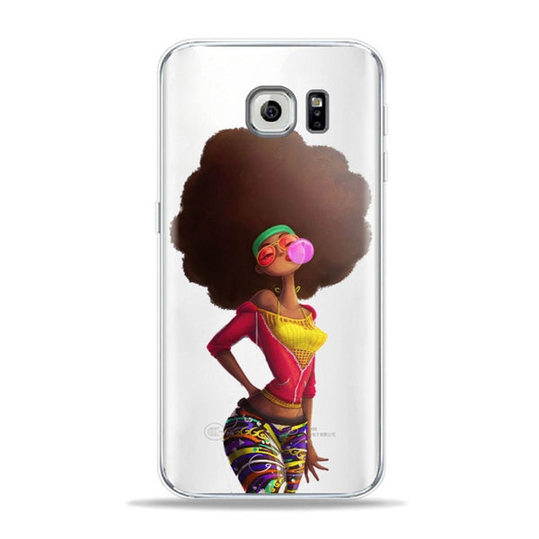 Black Women Hair Art Sumsung phone Case