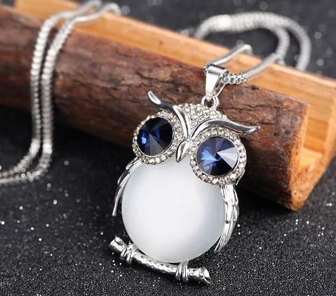 New Style Owl Rhinestone Silver Pendant Necklace