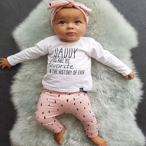 "Newborn Baby Long Sleeve 3Pcs ""Daddy You Are My Favorite"" Clothing Outfit"